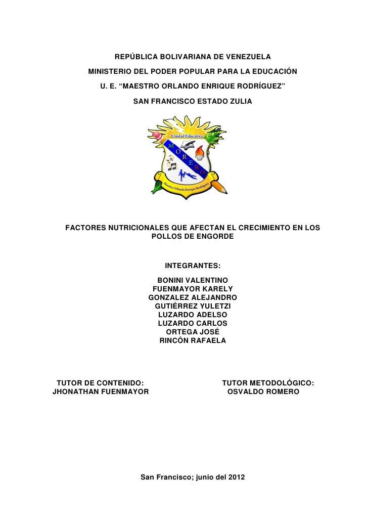 """REPÚBLICA BOLIVARIANA DE VENEZUELA       MINISTERIO DEL PODER POPULAR PARA LA EDUCACIÓN         U. E. """"MAESTRO ORLANDO ENR..."""