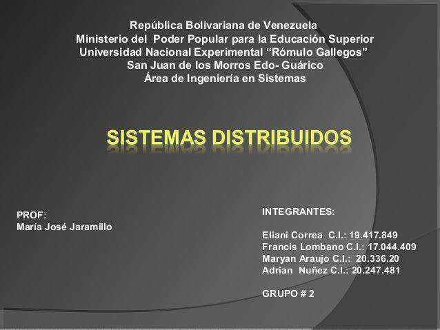 República Bolivariana de Venezuela            Ministerio del Poder Popular para la Educación Superior            Universid...