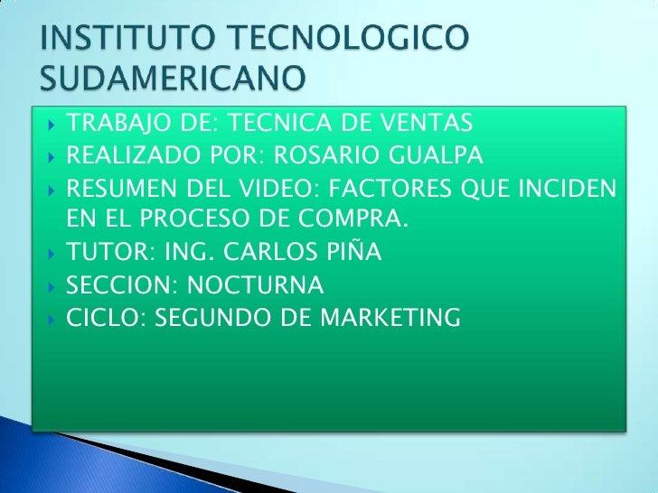 TRABAJO DE: TECNICA DE VENTAS<br />REALIZADO POR: ROSARIO GUALPA<br />RESUMEN DEL VIDEO: FACTORES QUE INCIDEN EN EL PROCES...