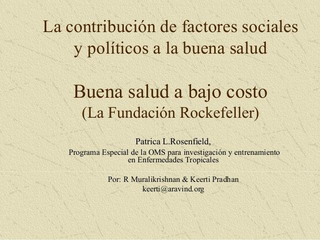 Factores sociales y políticos a la buena salud