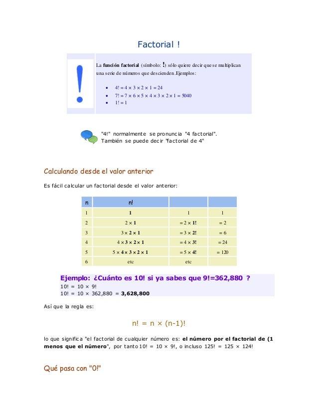 Factorial !  La función factorial (símbolo: !) sólo quiere decir que se multiplican  una serie de números que descienden. ...