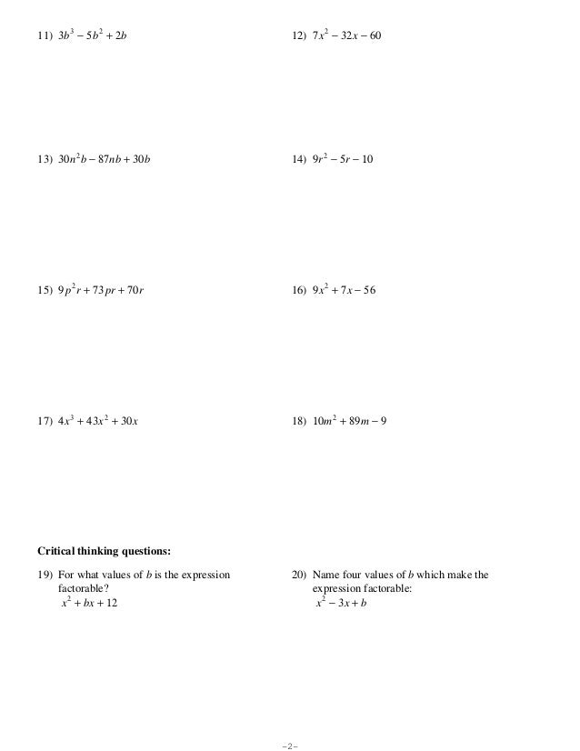 Factoring Quadratic Trinomials Worksheet | Worksheet & Workbook Site
