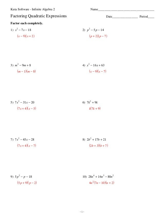 Factoring Polynomials Worksheet With Answers Algebra 2 ...