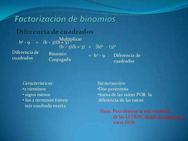 Factorización de binomios<br />Diferencia de cuadrados<br />Multiplicar<br /> b2 - 9<br />(b – 3)(b + 3)<br />=<br />(b – ...