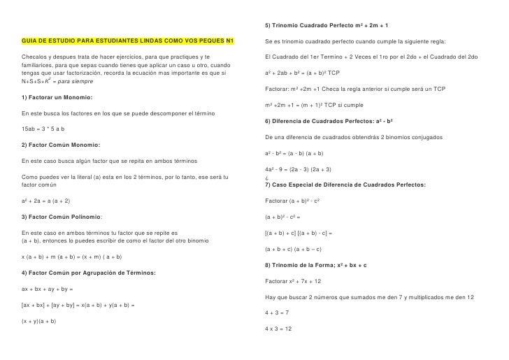 5) Trinomio Cuadrado Perfecto m² + 2m + 1GUIA DE ESTUDIO PARA ESTUDIANTES LINDAS COMO VOS PEQUES N1                       ...
