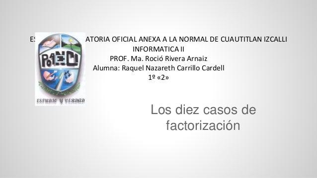 ESCUELA PREPARATORIA OFICIAL ANEXA A LA NORMAL DE CUAUTITLAN IZCALLI INFORMATICA II PROF. Ma. Roció Rivera Arnaiz Alumna: ...