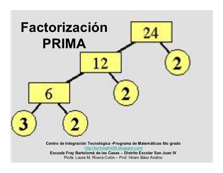 Factorización    PRIMA        Centro de Integración Tecnológica -Programa de Matemáticas 6to grado                        ...