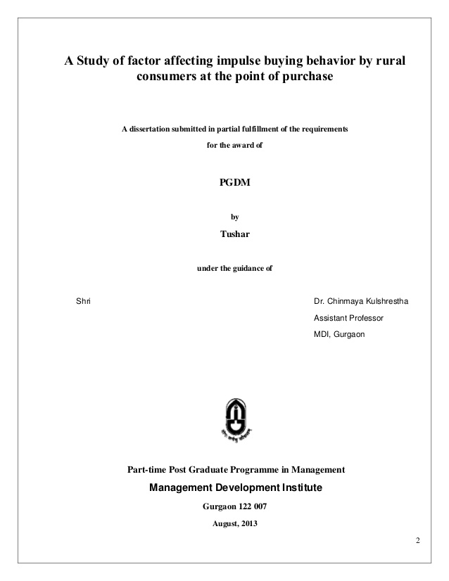 Dissertation Proposal - Writing Dissertation Proposal