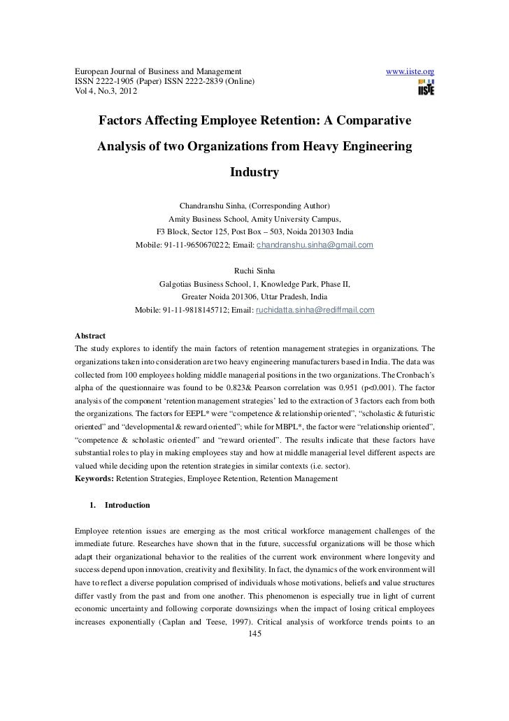 Factors affecting employee retention a comparative analysis