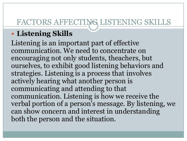 the factors that affect listening The study of music and emotion seeks to understand the psychological relationship between human affect and music it is a branch of music psychology with numerous.