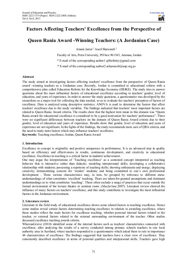 Factors affecting teachers' excellence from the perspective of queen rania award  winning teachers (a jordanian case)