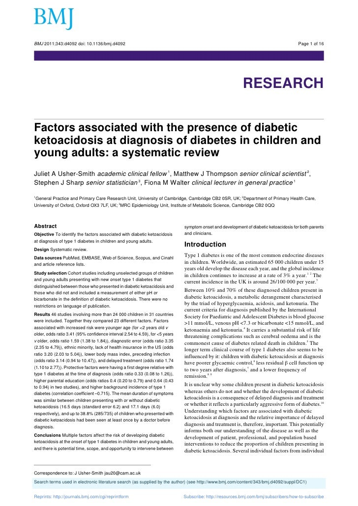 Factors associated with the presence of diabetic ketoacidosis at diagnosis of diabetes in children and young adults a systematic review
