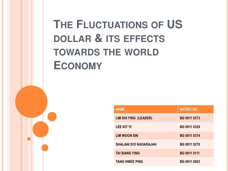 THE FLUCTUATIONS OF USDOLLAR & ITS EFFECTSTOWARDS THE WORLDECONOMY          NAME                    MATRIC NO.          LI...