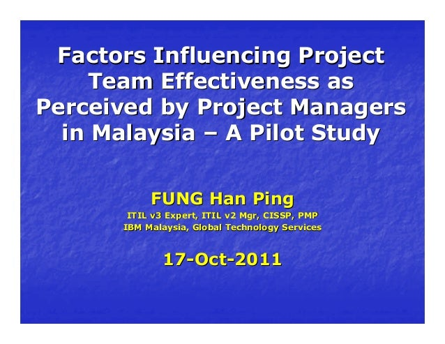 Presentation on Factors Influencing Project Team Effectiveness as Perceived by Project Managers in Malaysia - A Pilot Study