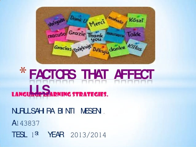 * FACTO S THAT AFFECT R LLS.  LANGUAGE LEARNING STRATEGIES.  N R LSAH R BI N M UU I A TI ESEN . I A143837 TESL 1St  YEAR 2...