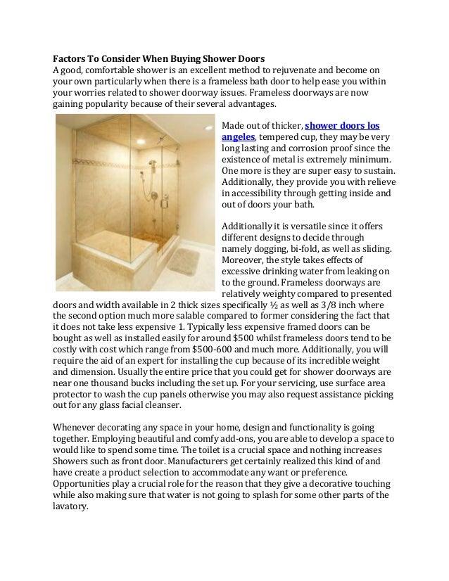 Factors To Consider When Buying Shower Doors