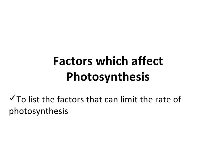 Factors which affect Photosynthesis <ul><li>To list the factors that can limit the rate of photosynthesis </li></ul>