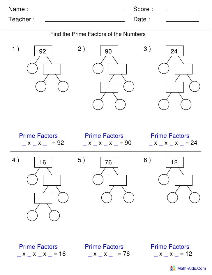 Factor trees worksheets prime factorization