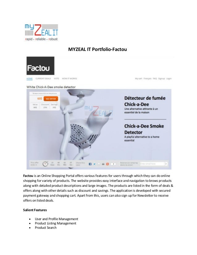 MYZEAL IT Portfolio-Factou  Factou is an Online Shopping Portal offers various features for users through which they can d...