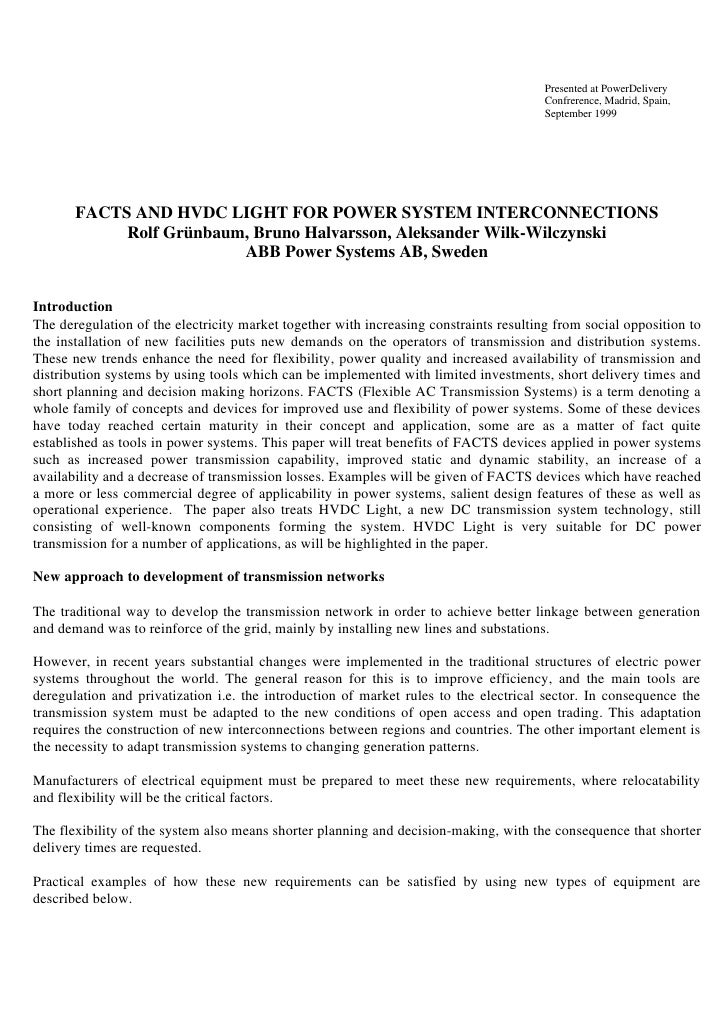 Facts and hvdc light for power system interconnections