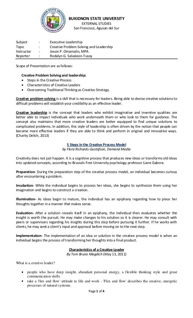 Page 1 of 4 BUKIDNON STATE UNIVERSITY EXTERNAL STUDIES San Francisco, Agusan del Sur Subject : Executive Leadership Topic ...