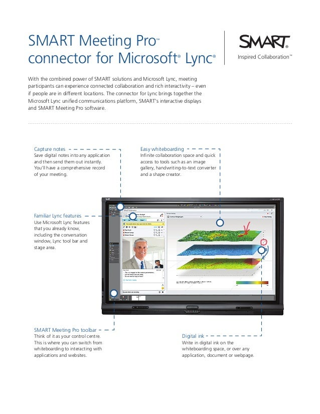 SMART Meeting Pro connector for Microsoft Lync ™  ®  ®  With the combined power of SMART solutions and Microsoft Lync, mee...