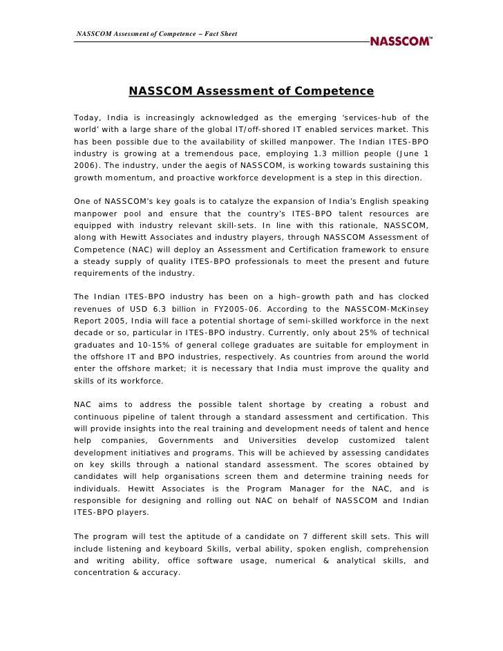 NASSCOM Assessment of Competence – Fact Sheet                   NASSCOM Assessment of Competence  Today, India is increasi...