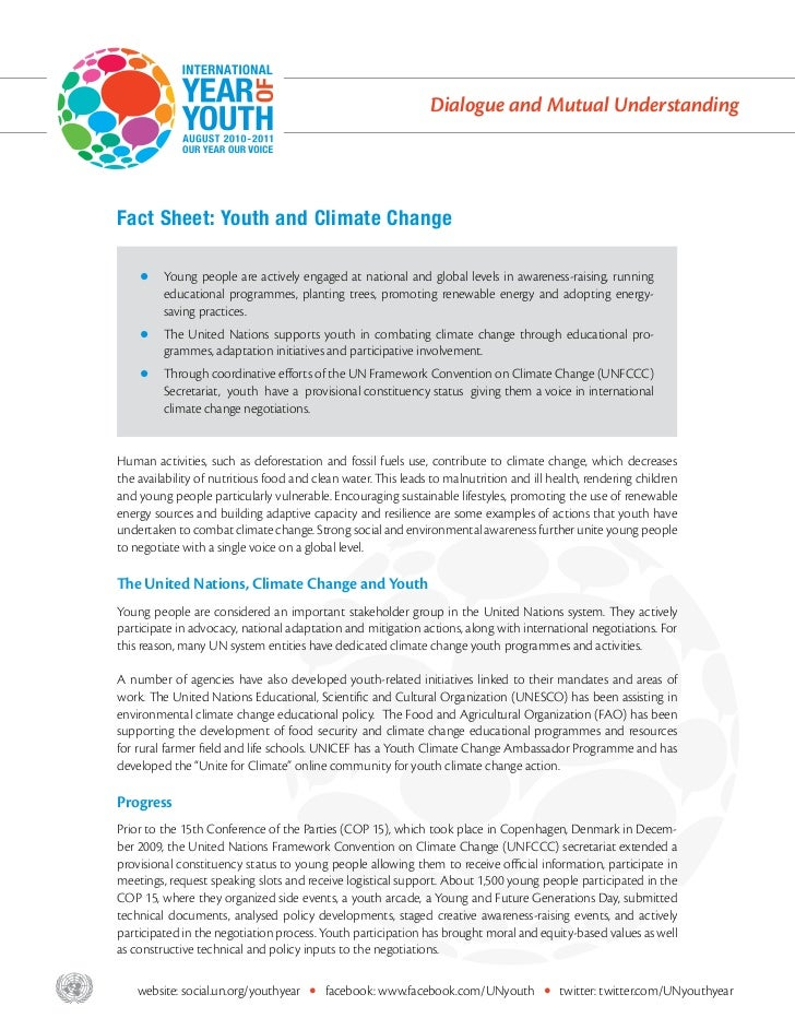 Dialogue and Mutual Understanding       Fact Sheet: Youth and Climate Change           z    Young people are actively enga...