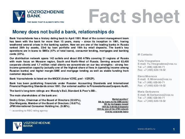 Fact sheet Money does not build a bank, relationships do Bank Vozrozhdenie has a history dating back to April 1991. Most o...