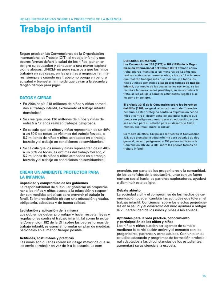 HOJAS INFORMATIVAS SOBRE LA PROTECCIÓN DE LA INFANCIA   trabajo infantil  Según precisan las Convenciones de la Organizaci...