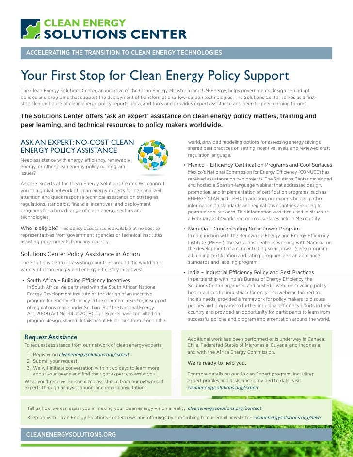 ACCELERATING THE TRANSITION TO CLEAN ENERGY TECHNOLOGIESYour First Stop for Clean Energy Policy SupportThe Clean Energy So...