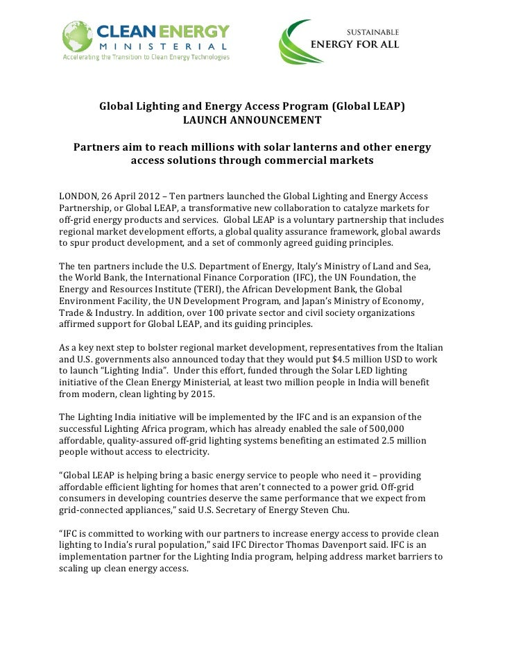 Global Lighting and Energy Access Program (Global LEAP)                         LAUNCH ANNOUNCEMENT   Partners aim to reac...