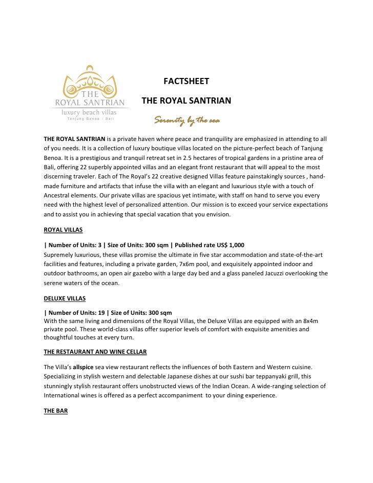 The Royal Santrian - Factsheet