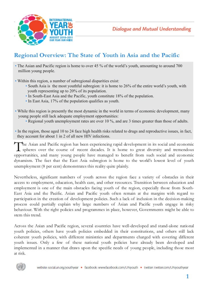 Regional Overview: Youth in Asia and the Pacific