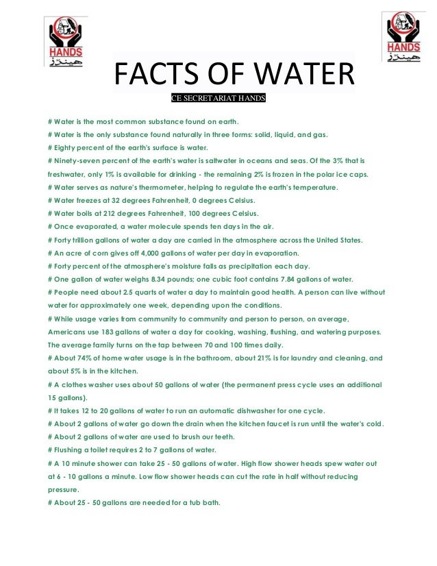 FACTS OF WATERCE SECRETARIAT HANDS # Water is the most common substance found on earth. # Water is the only substance foun...
