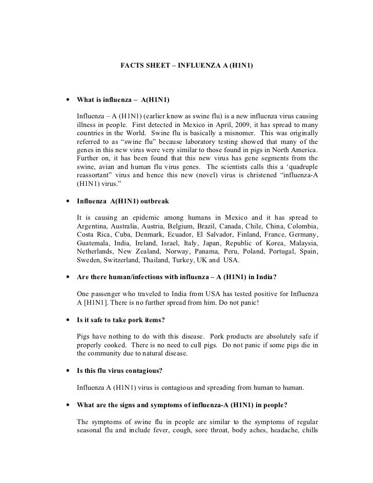 Facts sheet on influenza a [h1 n1]
