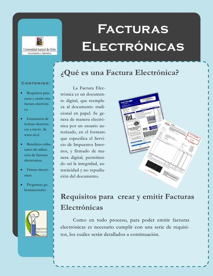 Facturas                                     Electrónicas                          ¿Qué es una Factura Electrónica?Conteni...