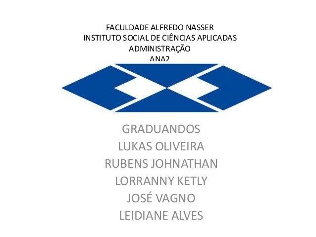 FACULDADE ALFREDO NASSER INSTITUTO SOCIAL DE CIÊNCIAS APLICADAS ADMINISTRAÇÃO ANA2  GRADUANDOS LUKAS OLIVEIRA RUBENS JOHNA...