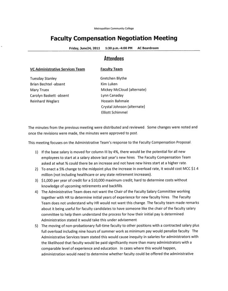 Faculty compensation negotiation meeting  6 24 11