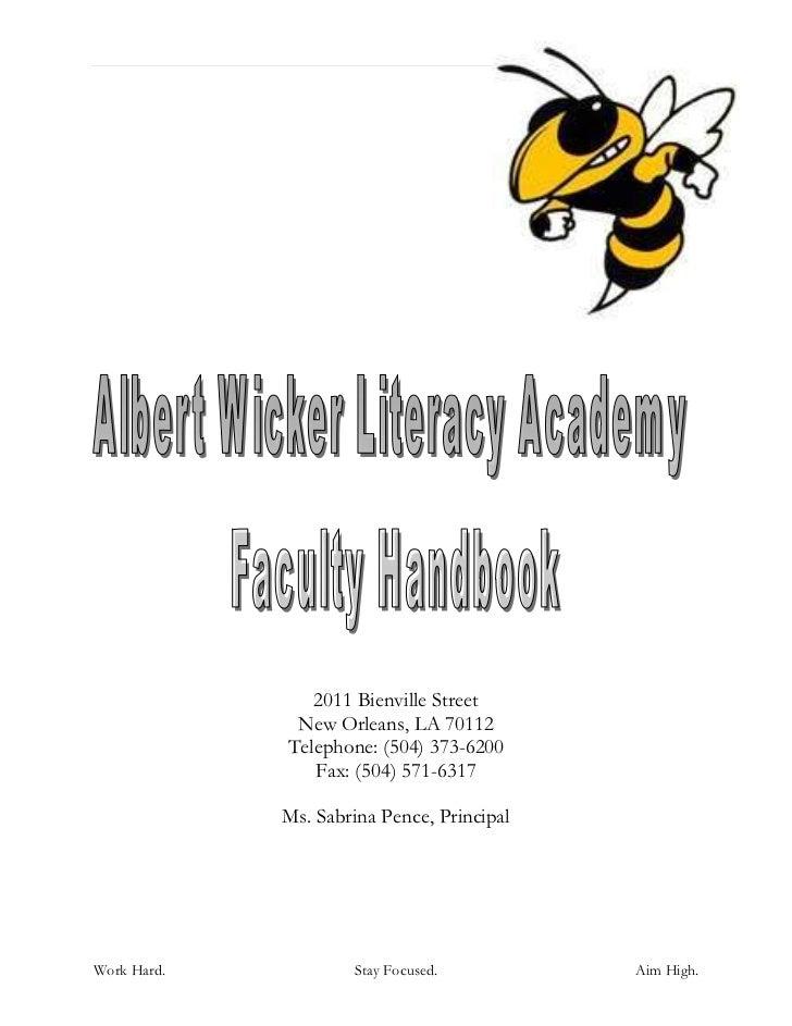 Faculty handbook 2009_-_2010_albert_wicker_literacy_final_july23