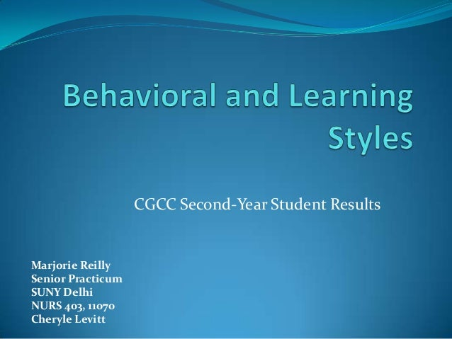 Faculty learning and behavioral styles