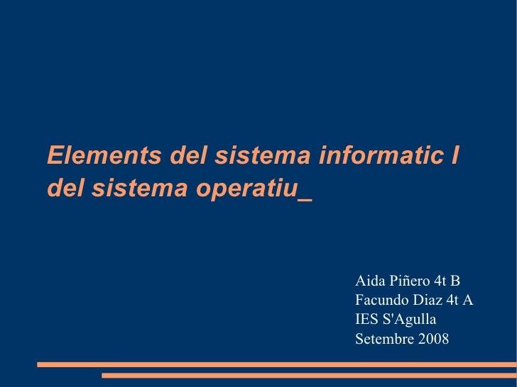 Elements del sistema informatic I del sistema operatiu_ Aida Piñero 4t B Facundo Diaz 4t A IES S'Agulla Setembre 2008