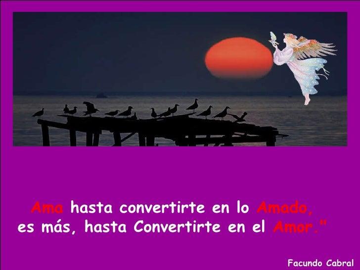 """Ama  hasta convertirte en lo  Amado,   es más, hasta Convertirte en el  Amor.""""   Facundo Cabral"""