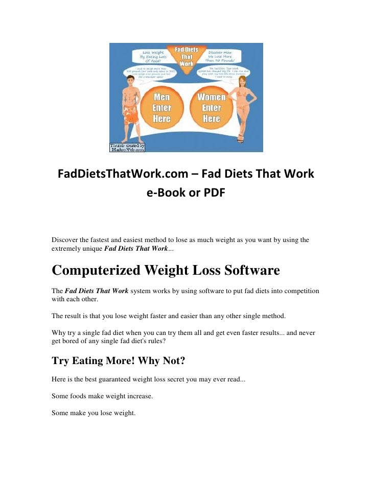 FadDietsThatWork.com – Fad Diets That Work e-Book or PDF