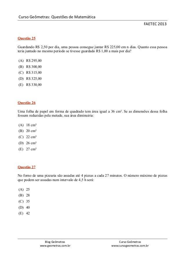Prova FAETEC 2013: Matemática com Gabarito