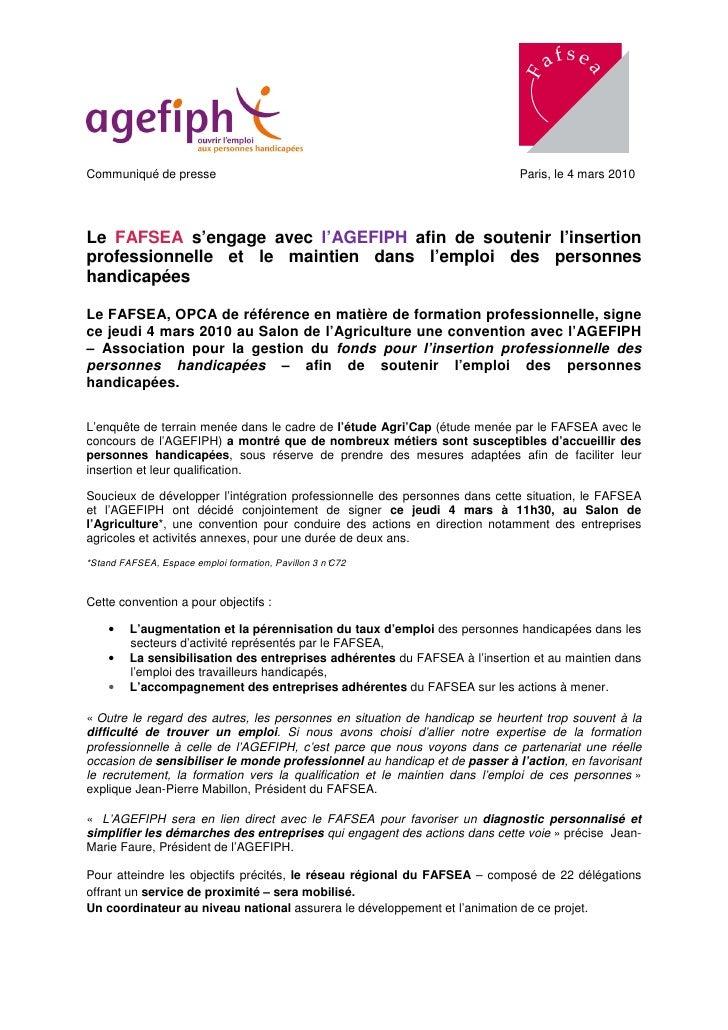 Communiqué de presse                                                        Paris, le 4 mars 2010     Le FAFSEA s'engage a...