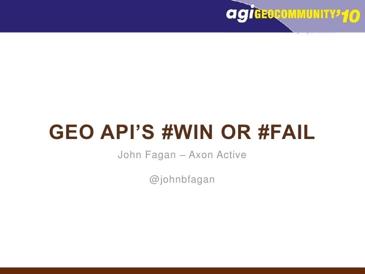 Geo API's #WIN or #FAIL