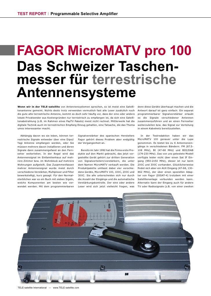 TEST REPORT                 Programmable Selective Amplifier     FAGOR MicroMATV pro 100 Das Schweizer Taschen- messer für ...