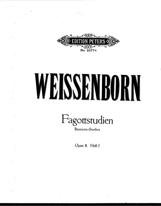 »f  Fagottstudien  Bassoon= Studíes  Opus 8. Hefi I