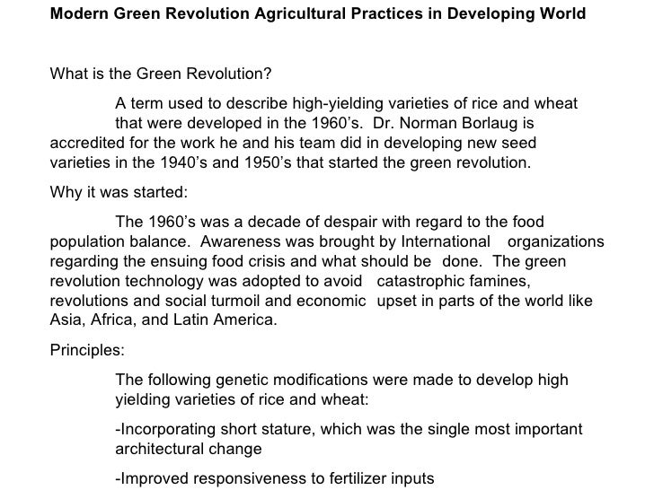 Modern Green Revolution Agricultural Practices in Developing World What is the Green Revolution? A term used to describe h...